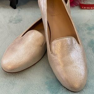 "NWOT J Crew new silver/gold tone 1/2"" heeled flats"